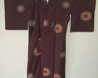 KIMONO/JAPANESE/Vintage/Japanese kimono pattern/ kimono fabric/ for Women US M size silk/ Japanese traditional style