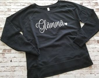Glamma sweatshirt, best grandma ever, best nana shirt, glam ma t shirt, gift for grandma, new grandma gift, pregnancy reveal, gift idea,