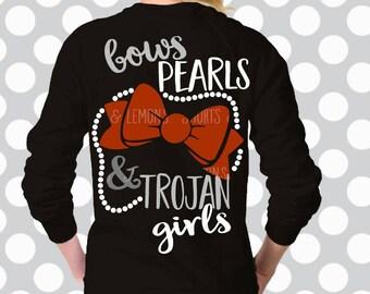 Bows, Pearls and Trojan Girls svg, Trojan SVG, Trojans svg, Trojans Cut file, commercial use, Digital Download, Bow svg, pearls, football