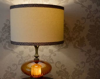 Unique Vintage 1960's Amber Glass Lamp with Large Modern Drum Shade with Leopard Print Trim-Accent Lamp 12 inches by 30 inches