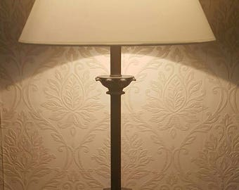 Vintage Black Gold Ornate Metal Table Lamp Cream Shade Home Decor Lighting