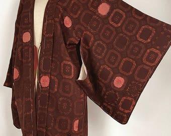 "Japanese K110902 Dark Brown ""Jimon-okoshi"" Haori Kimono Coat"