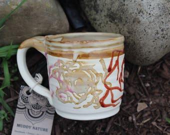 Hand Drawn Flower Mug