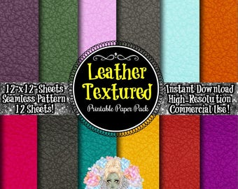 Scrapbook Paper Pack, Digital Paper Pack, Digital Paper Commercial Use, Scrapbook Paper Kits, Instant Download, Textured Paper, Leather
