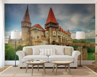 Castle Wall Mural castle wall decal | etsy