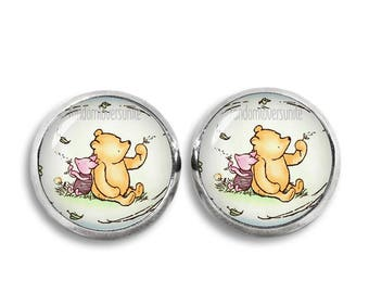 Winnie the Pooh Stud Earrings Winnie and Piglet Earrings Classic Winnie the Pooh Jewelry