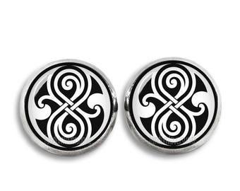 Time Lord Stud Earrings Doctor Who Earrings Time Lord Earrings 12 mm Fandom Jewelry Fangirl Fanboy