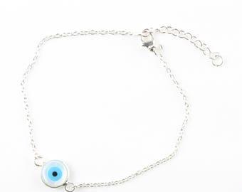 Evil Eye Chain Bracelet / Sterling Silver Evil Eye Bracelet / Goodluck Bracelet / WSB4