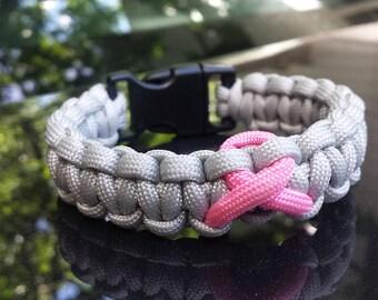 Silver Breast Cancer Awareness Bracelet