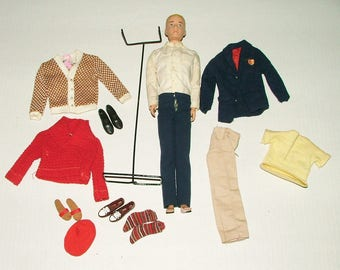Barbie Ken Doll 1962 Vintage Painted Blonde Hair With Accessories Stand Clothing *********1960's******