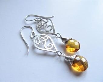 Crystal drop earrings, celtic drop earrings, silver dangle earrings, amber crystal earrings, silver and amber earrings, wirewrapped earrings
