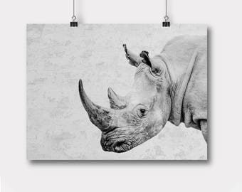 Rhino Printable, Safari Nursery Wall Art Decor, Rhino, Safari Poster, Wall Decor, Modern African Animal Print, Wall Art Poster Printable