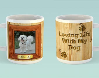 Loving Life With My Dog mug - Dog Lover - Pets - Paws - Heart - Fur baby - Fur kids - Dogs - Pets - Personalized - Photo