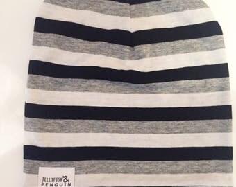 Mono striped handmade slouch beanie hat