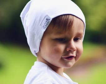 White handmade slouch beanie hat