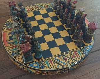 Vintage Peruvian Round Chess Board/Set