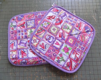Purple patterned Red Hat Society Hot Pad Set