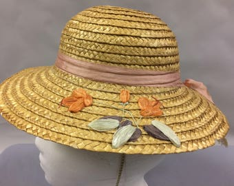 """Vintage 1950s 1960s Child's Straw and Raffia Hat 
