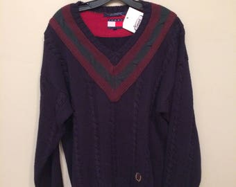Vintage Slouchy Tommy Hilfiger Navy Burgundy Over sized Sweater | Men's Medium Women's Large