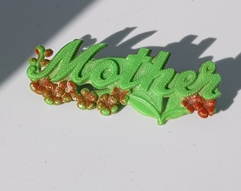 "Vintage Celluloid Brooch with ""Mother"" and Flowers. Mothers Day Gift. Green Celluloid Pin c1930s"