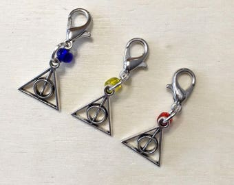 Deathly Hallows | Harry Potter Inspired Stitch Marker | Stitch Markers | Progress Keeper | Zipper Pull | Planner Charm