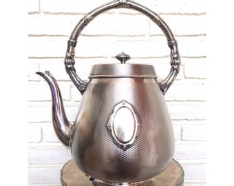 Antique Elkington Silver Plate Teapot Made in England Victorian 9156 Tea Kettle