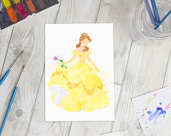 Disney Inspired Belle Watercolour A5 Print