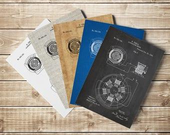 Tesla Motor Poster, Tesla Patent, Tesla Decor, Tesla Motor Print, Tesla Motor Patent, AC Motor Blueprint, Tesla Poster, INSTANT DOWNLOAD
