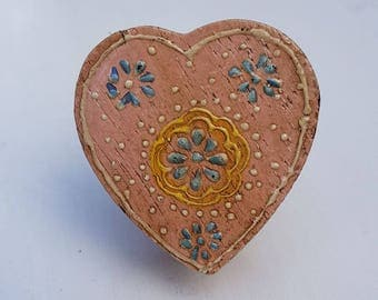 Pink Floral Wooden Heart Shaped Door / Drawer Knob ~  Upcycling Project