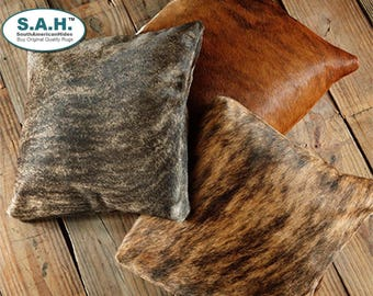 "Cowhide Pillow Cover 16"" x 16"" Brindle  Cowhide Rug"