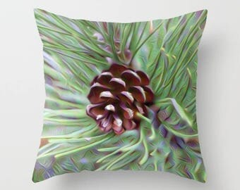 Pinecone Pillow, Pillowcase, Green Pillow, Nature Pillow, Toss Pillow, Toss Cushion, Throw Cushion, Sofa Pillow, Sofa Cushion, Accent Pillow