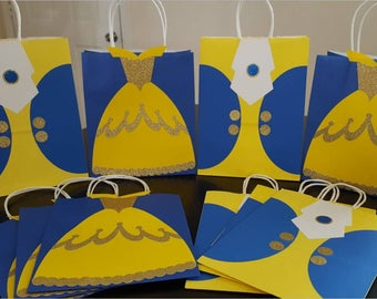 Set of 12-Beauty and the Beast Favor Bags Princess Favor Bags inspired by Beauty and the Beast Belle Dress Beast Suit