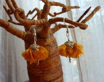Flower orange yellow vintage fabric and metal earrings