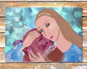 Beauty and the Beast, disney art, princess art, girl art, fairy tale art, children's room, fantasy art, fairy tale, nursery art, art print