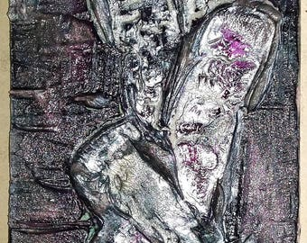 Acrylic painting canvas 60 x 20 black purple silver structures breaks abstract