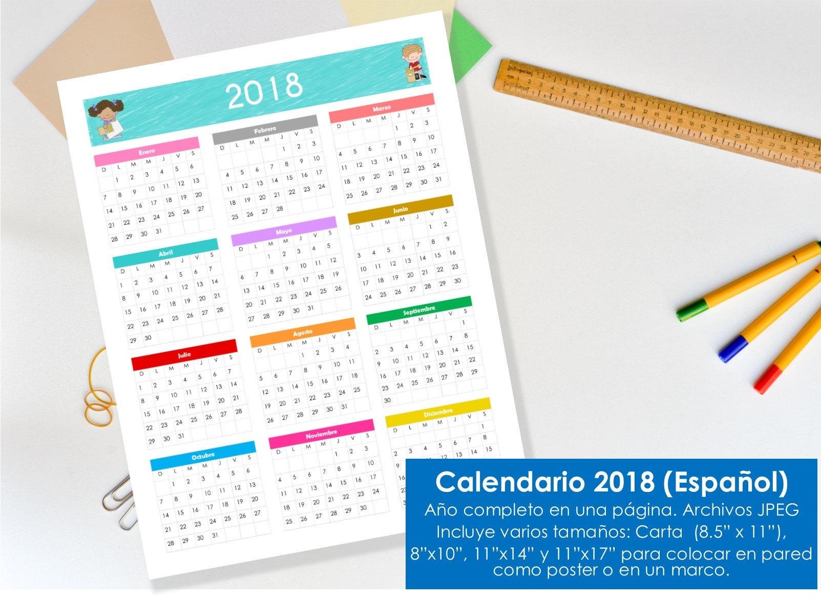 Calendario 2018 para imprimir tama os carta 8 5 x for Calendario de pared 2018