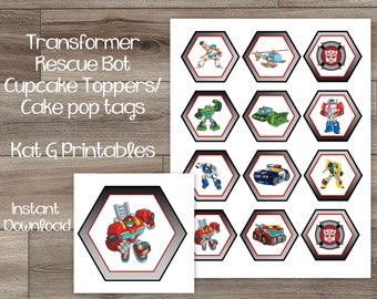 Transformer Rescue Bots Cupcake Toppers/Cake Pop Tags, Birthday Party Decor Instant Download Printable