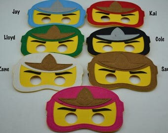 Ninjago Felt Masks - Birthday Party Favor. Great for Kids Boy Girl Child Toddler Superhero Costume Outfit. Kai Cole Zane Jay Lloyd Sam
