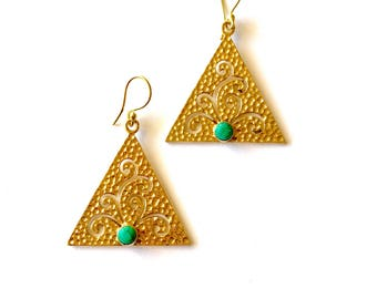Geometric turquoise drop earrings, brass earrings, triangle earrings, gold drop earrings, modern earrings, gift for her