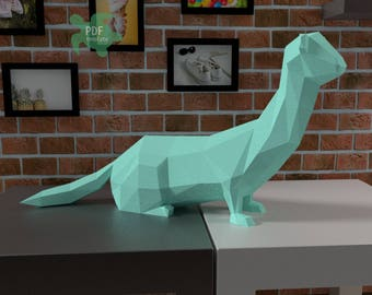 Papercraft template | diy low poly weasel | pdf template | instant download | papercraft animals | paper model | diy room decor