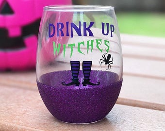 Drink Up Witches 21oz Stemless Glitter Wine Glass