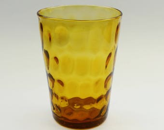 Retro Dimpled Amber Vase, 70's Dimpled Honey Glass, Classic 1970's