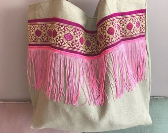 Large tote bag in linen and pink patterns