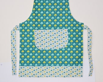 Apron for kids - mushrooms pattern / leaves - shades of green, lime and white - gift idea / 00399