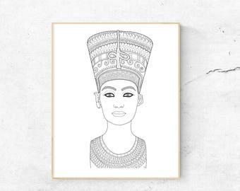 Nefertiti Coloring Page 30x30 inch