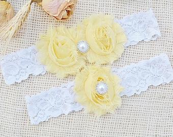Sunflower Garter, Yellow Garter Set, Brides Garter, Yellow Wedding Gift, Brides Garters, Bridal Clothing, Yellow Lingerie, White Lace Garter