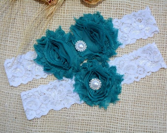 Wedding Garter, Teal Blue Garter, Pearl Cristal Lace Wedding Garter Set, Something Blue Garter Set, Teal Blue Bridal Garter Set, Garter Blue