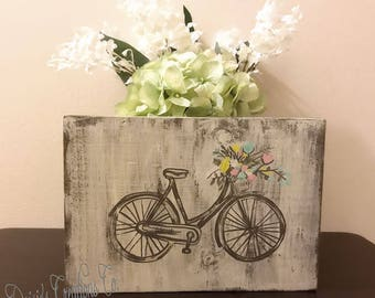 Vintage Bicycle Wood Sign // Hand Painted