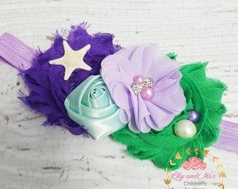 Under the sea headband, Mermaid sea shell flower elastic headband, soft baby mermaid headband, toddler headband, under the sea photo prop