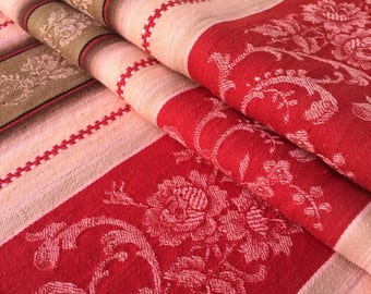 "Gorgeous Antique French DAMASKED TICKING FABRIC Panel Portiere Victorian Era Red/Cream 104.35"" x 52.35"" (265cm x 133cm)"